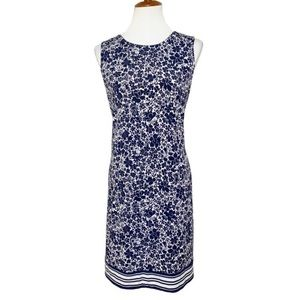 Michael Kors Navy Blue Floral Sheath Dress